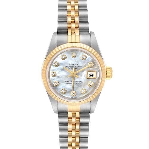 Photo of Rolex Datejust Steel Yellow Gold MOP Diamond Dial Ladies Watch 69173