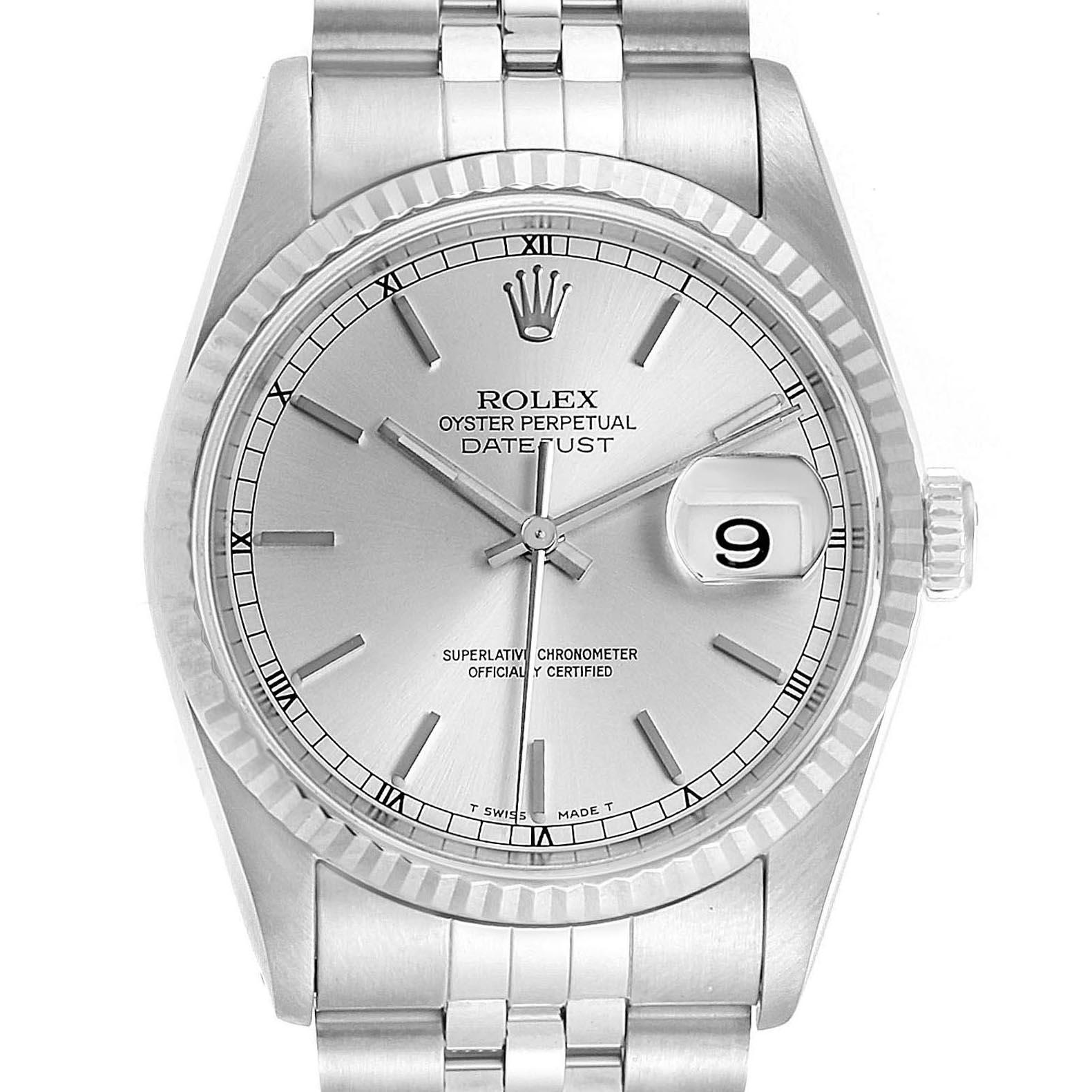 Rolex Datejust White Dial Jubilee Bracelet Steel & White Gold Mens Watch 16234