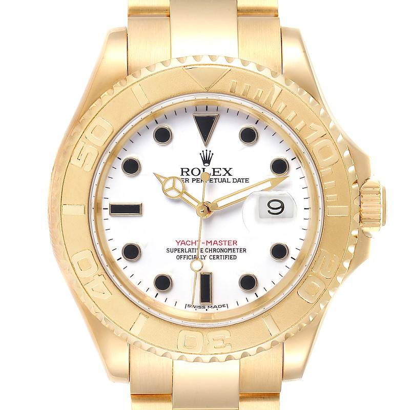 Rolex Yachtmaster 40 Yellow Gold White Dial Mens Watch 16628 Box Papers SwissWatchExpo
