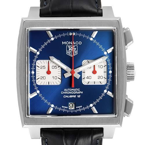 Photo of Tag Heuer Monaco Calibre 12 Blue Dial Black Strap Watch CAW2111 Box Card