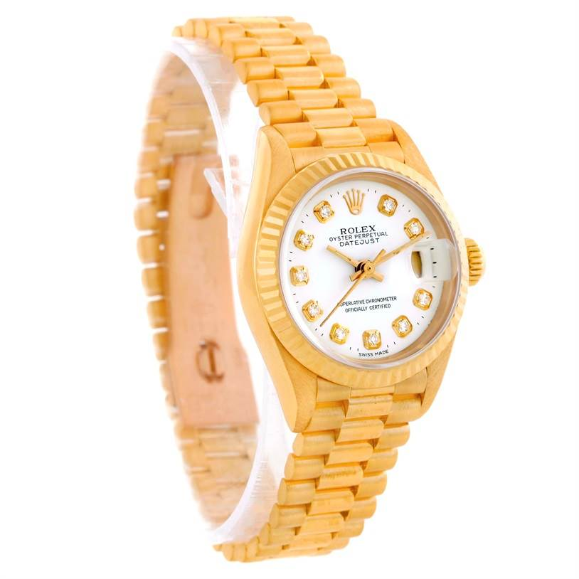10447 Rolex President Datejust Ladies 18k Yellow Gold Diamond Watch 69178 SwissWatchExpo