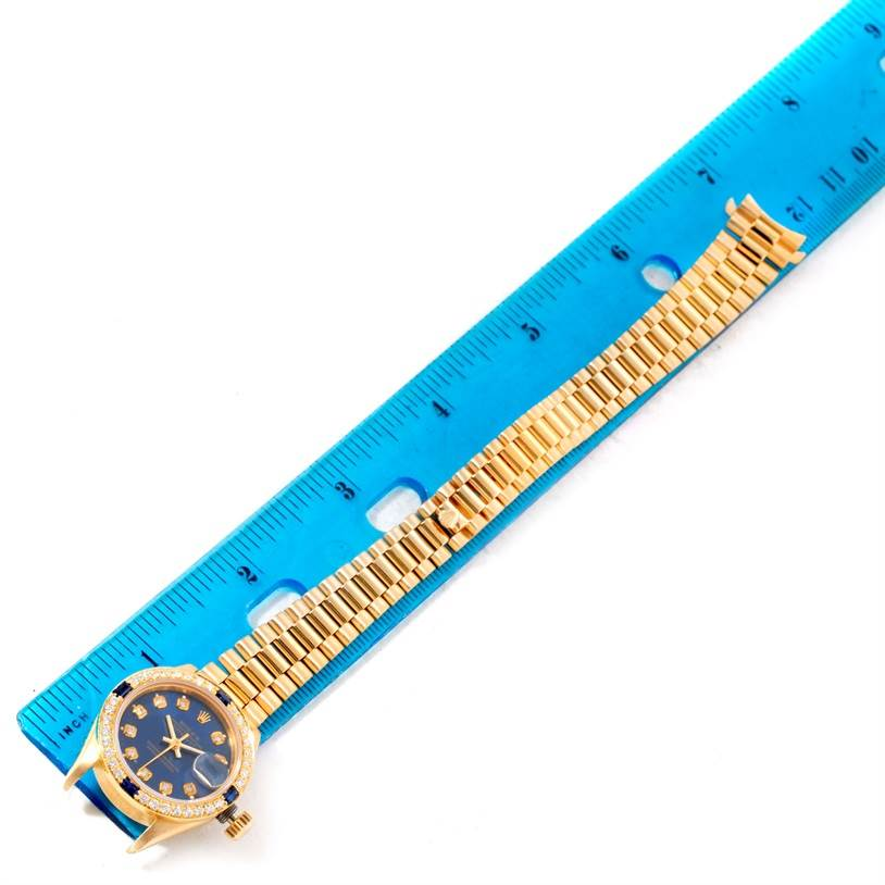 10619 Rolex President Ladies 18k Yellow Gold Diamond Sapphires Watch 69138 SwissWatchExpo