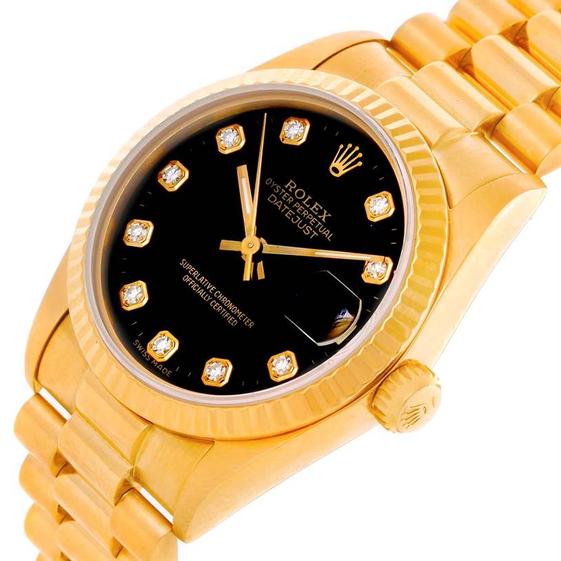 10777 Rolex President Datejust Midsize 18K Gold Diamond Watch 68278 SwissWatchExpo