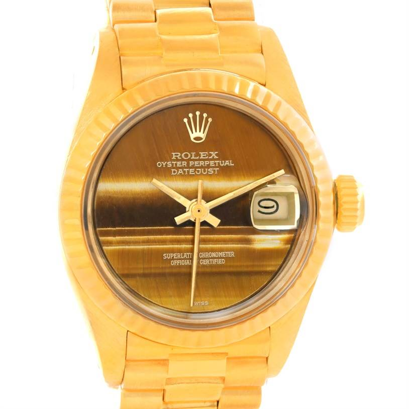 11194 Rolex President Datejust Ladies 18k Yellow Gold Tiger Eye Watch 6917 SwissWatchExpo