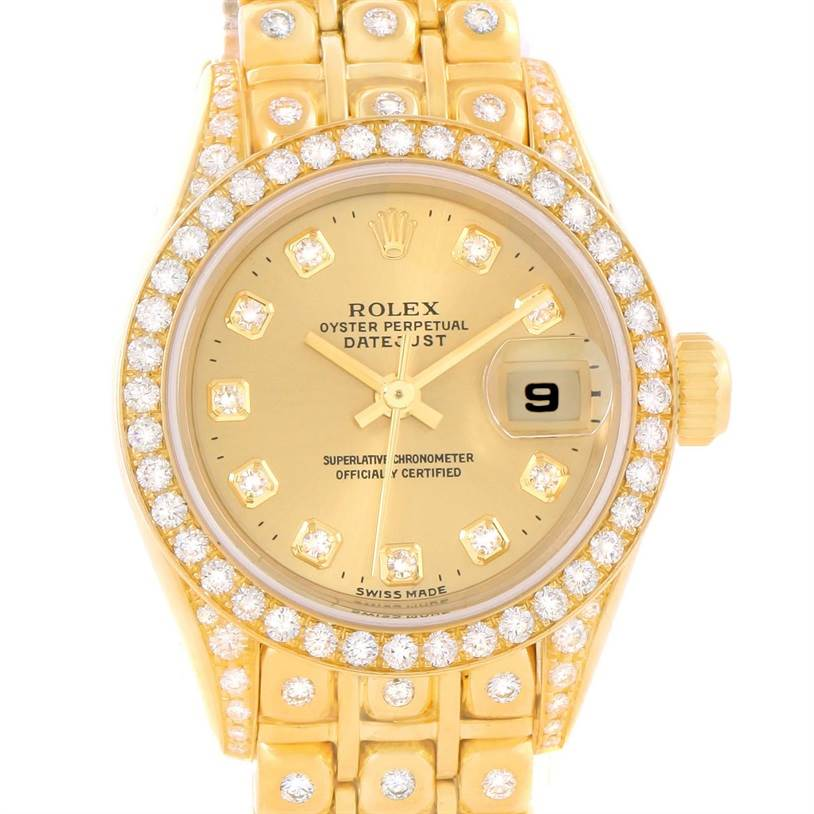 11762P Rolex President Datejust 18K Yellow Gold Diamond Bracelet Watch 69158 SwissWatchExpo