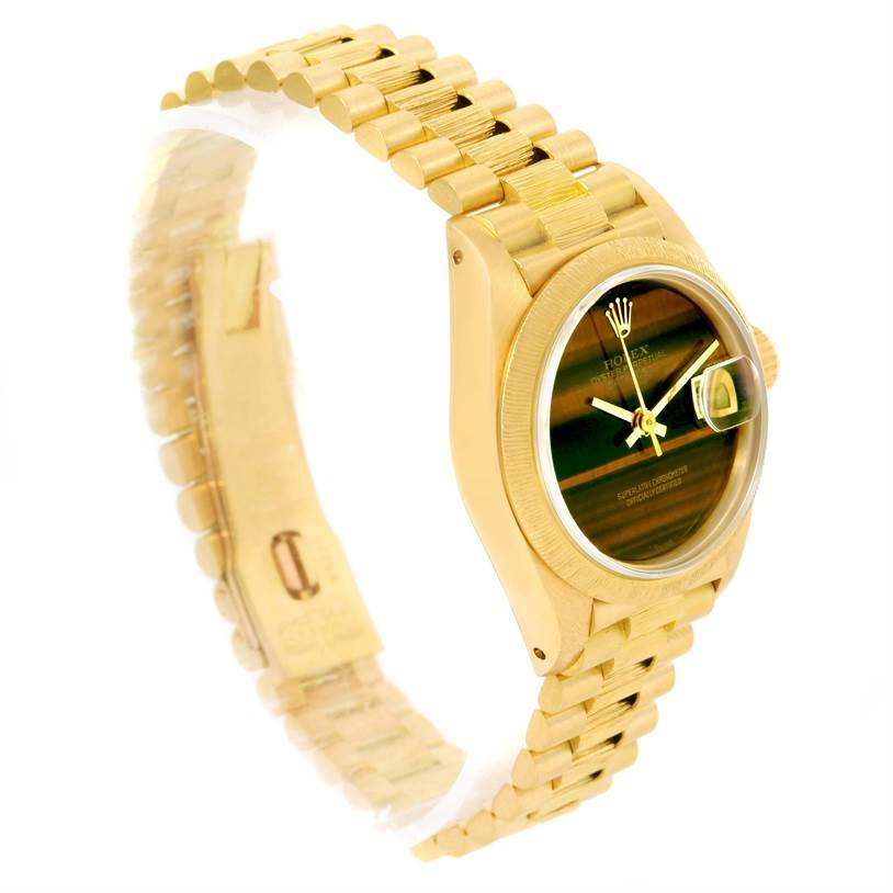 12120 Rolex President Datejust Ladies 18k Yellow Gold Tiger Eye Watch 69278 SwissWatchExpo