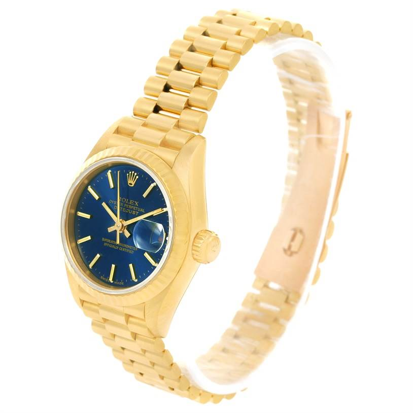 1fb5c9ada647 ... 12951 Rolex President Ladies 18k Yellow Gold Blue Dial Watch 69178  SwissWatchExpo ...