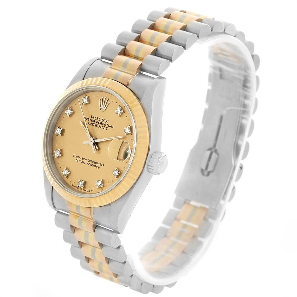 13101 Rolex President 31mm Tridor White Rose Yellow Gold Diamond Watch 68279 SwissWatchExpo