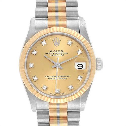 Photo of Rolex President 31mm Tridor White Rose Yellow Gold Diamond Watch 68279