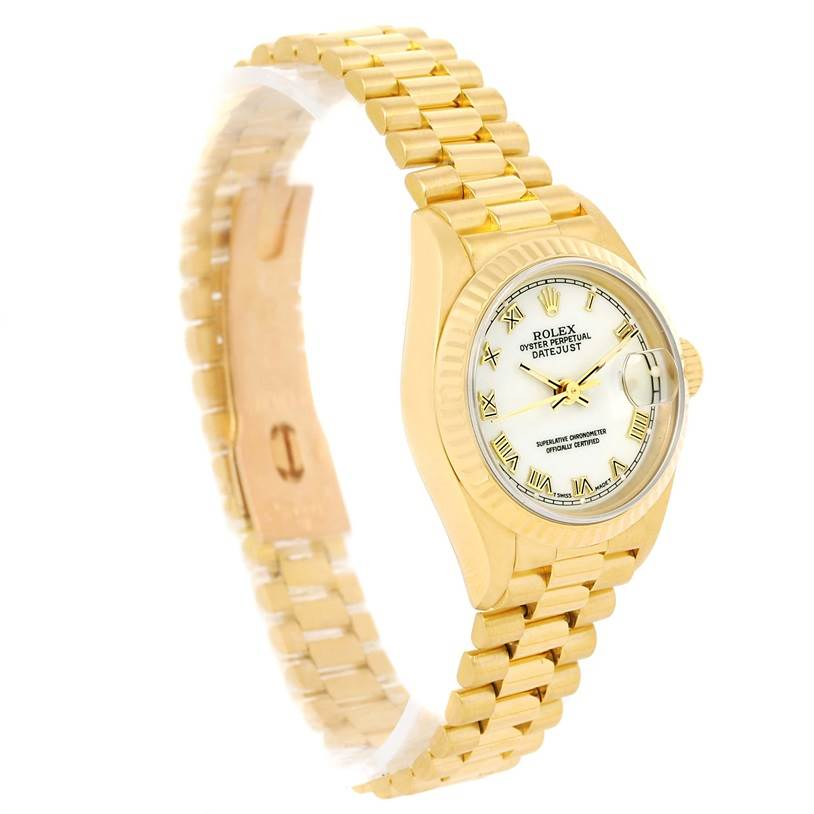 13246 Rolex President Datejust Ladies 18k Yellow Gold White Dial Watch 69178 SwissWatchExpo
