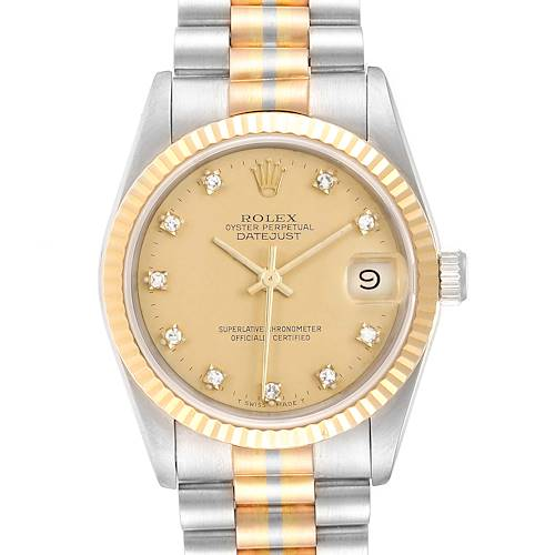 Photo of Rolex President Tridor Midsize White Rose Yellow Gold Diamond Watch 68279