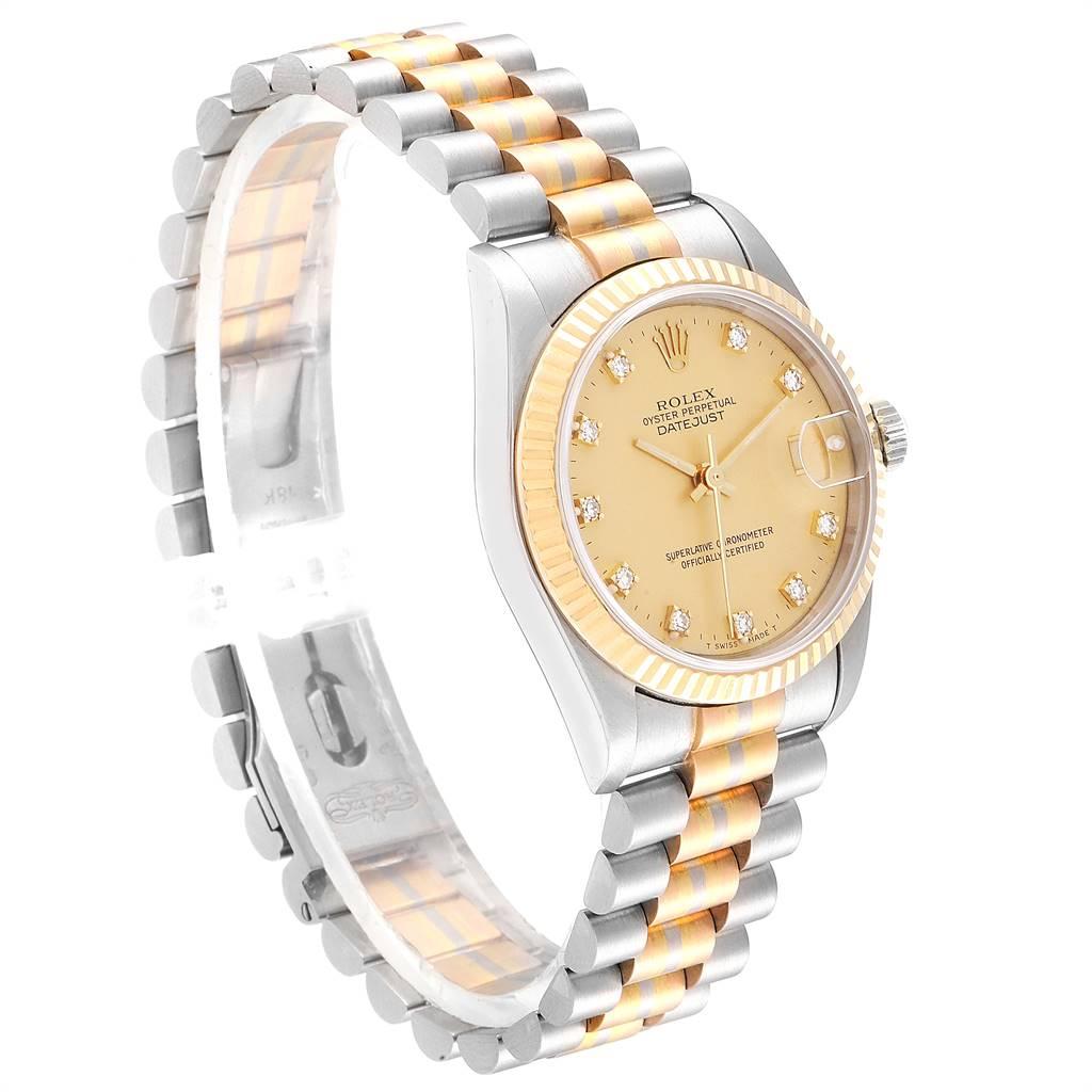 Rolex President Tridor Midsize White Rose Yellow Gold Diamond Watch 68279 SwissWatchExpo