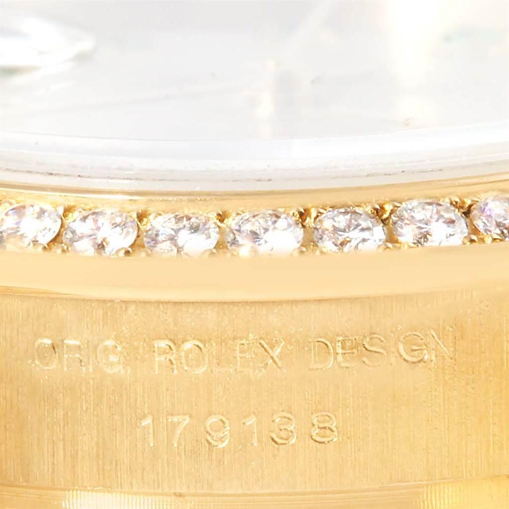13327P Rolex President Ladies 18k Yellow Gold Diamond Emerald Watch 179138 SwissWatchExpo
