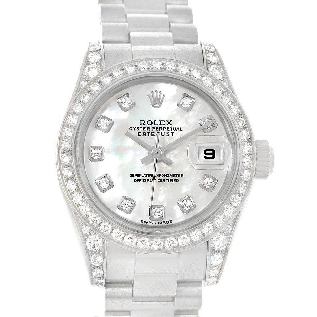49b8fcb000d8 ... 13617P Rolex President White Gold Diamond Dial Bezel Lugs Ladies Watch  179159 SwissWatchExpo ...