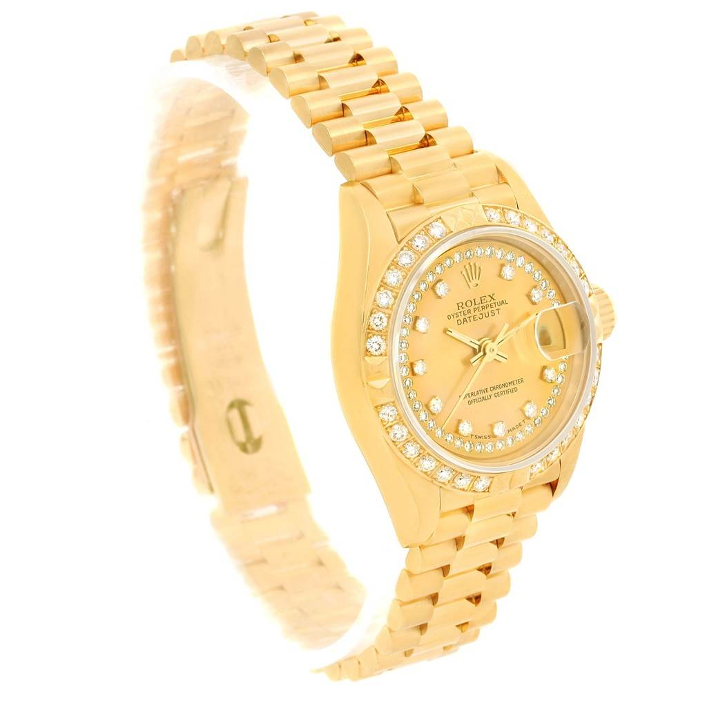 13848 Rolex President Datejust Yellow Gold String Diamond Ladies Watch 69158 SwissWatchExpo
