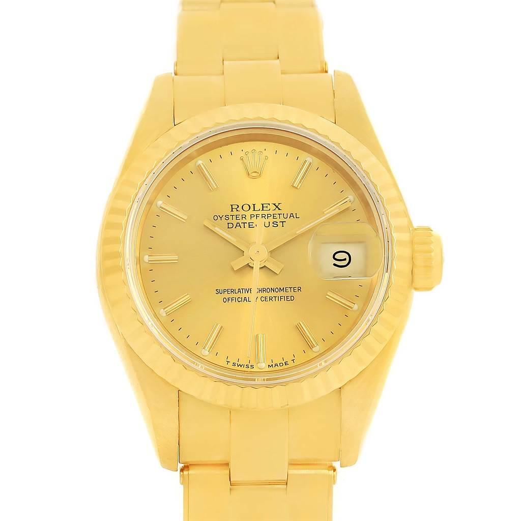 13678 Rolex President Datejust Yellow Gold Oyster Bracelet Ladies Watch 69178 SwissWatchExpo