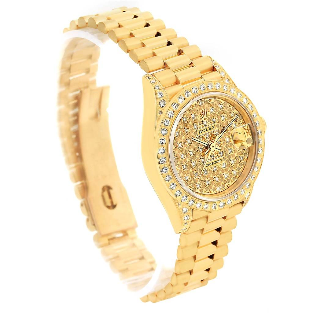 14172P Rolex President Crown Collection Yellow Gold Pave Diamond Watch 69158 SwissWatchExpo