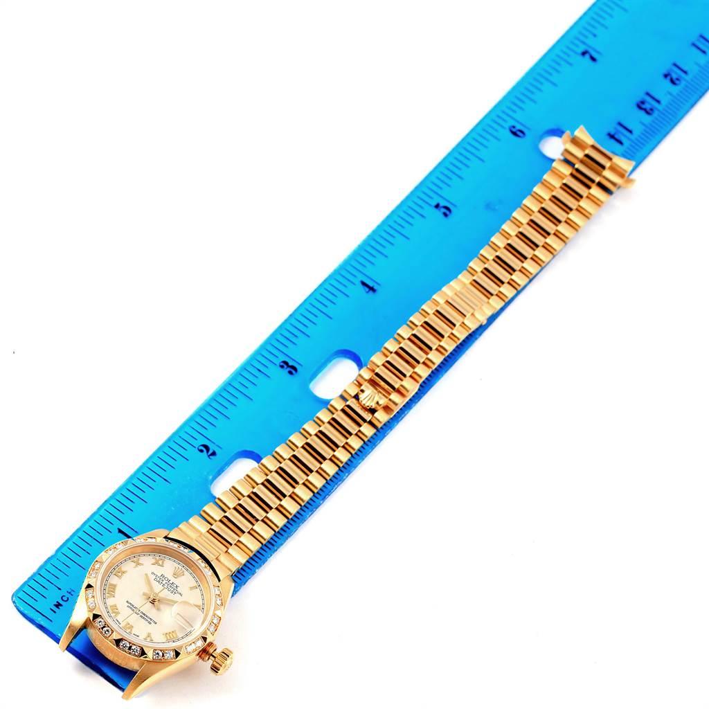 Rolex President Datejust 18k Yellow Gold Diamond Ladies Watch 69258 SwissWatchExpo