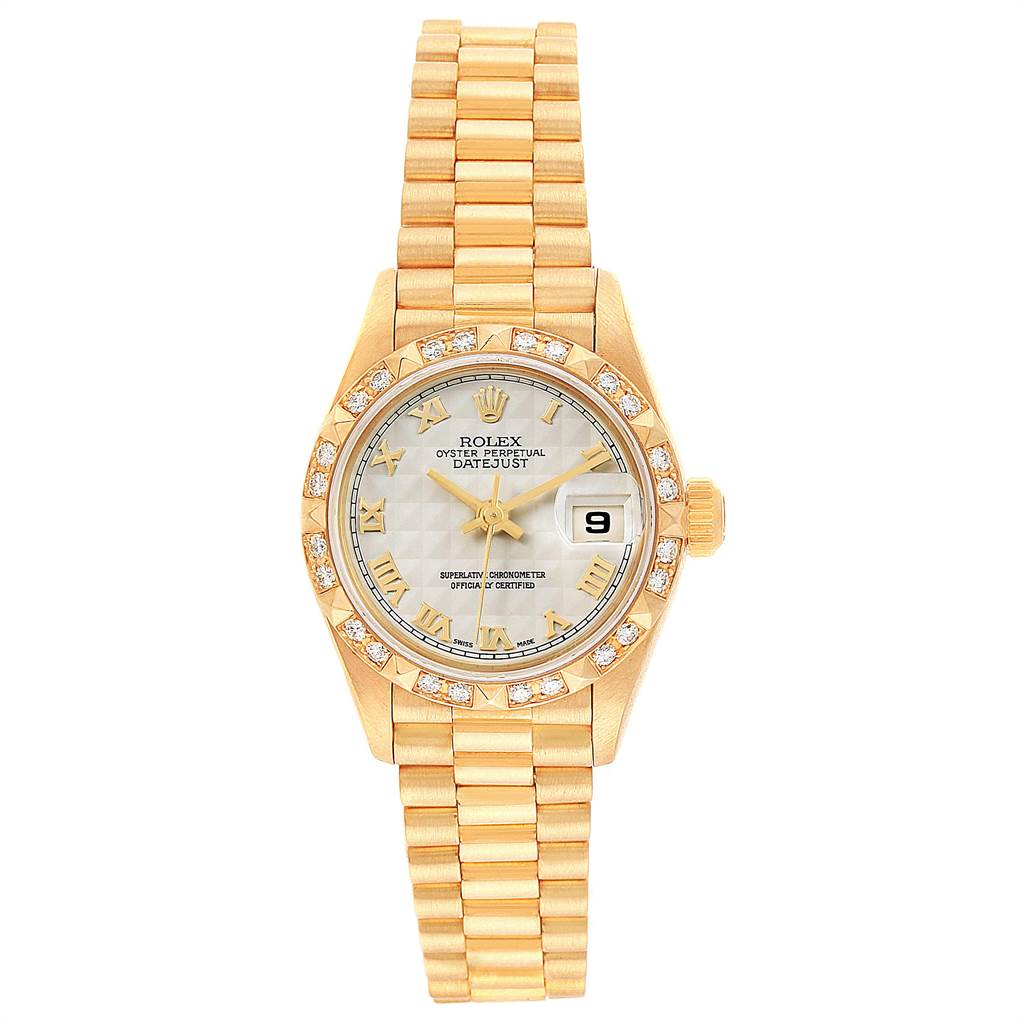 14227 Rolex President Datejust 18k Yellow Gold Diamond Ladies Watch 69258 SwissWatchExpo