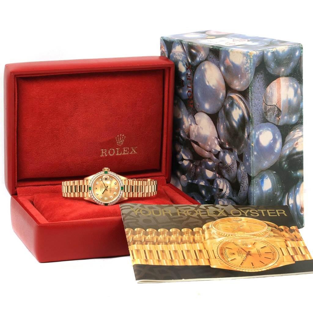 14632 Rolex President Datejust Yellow Gold Diamond Emerald Ladies Watch 69078 SwissWatchExpo