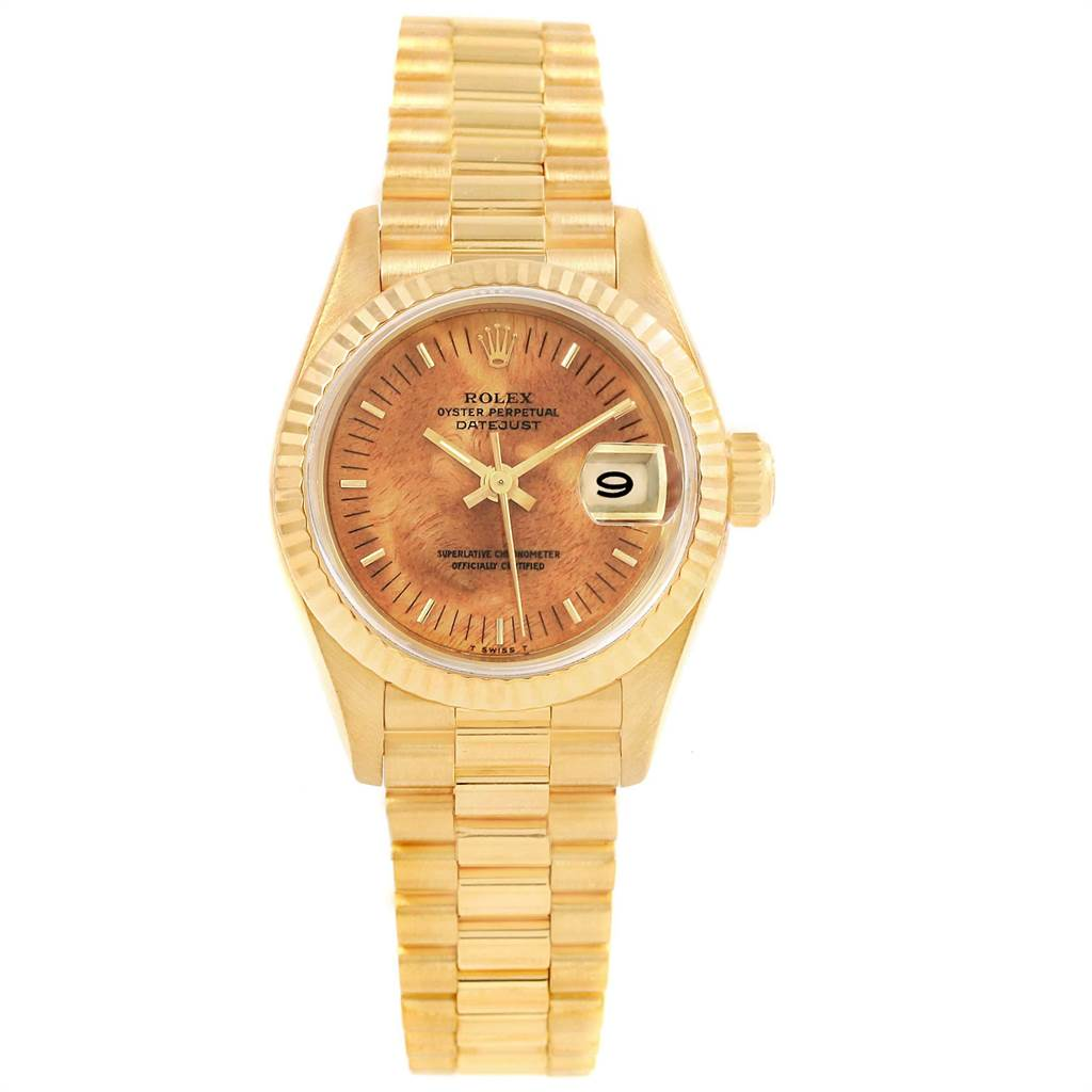 Rolex President Datejust Yellow Gold Burlwood Dial Ladies Watch 69178 SwissWatchExpo