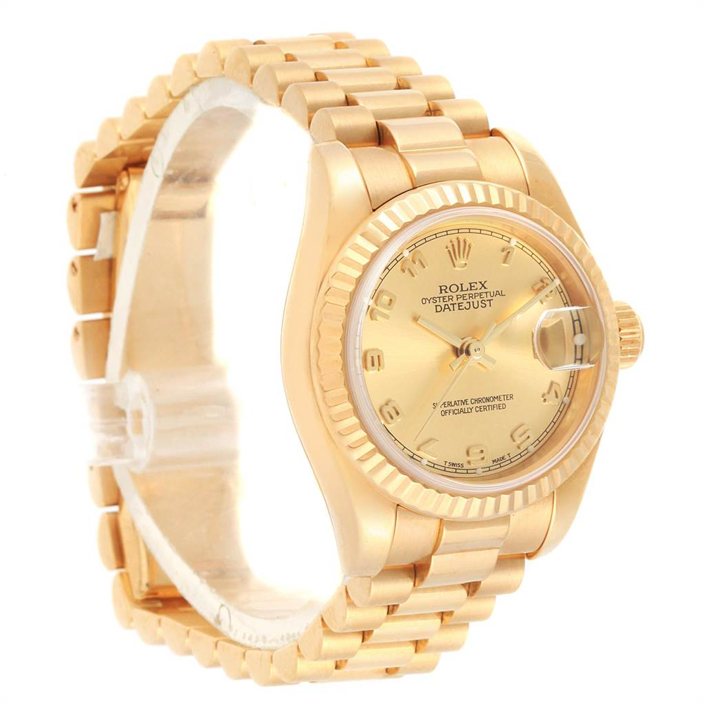 15135 Rolex President Datejust Arabic Dial Yellow Gold Ladies  Watch 179178 SwissWatchExpo