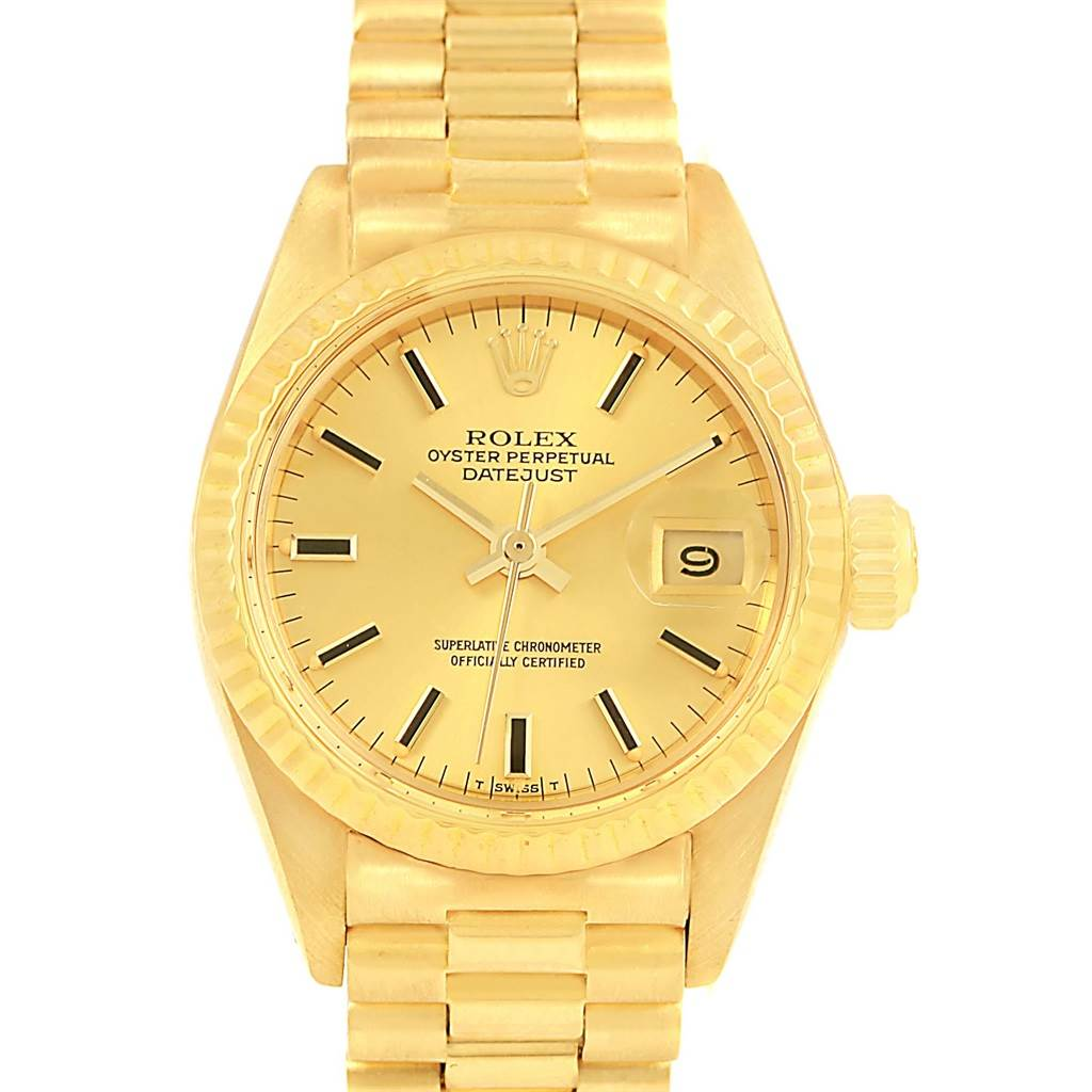 ... 15670 Rolex Oyster Perpetual Datejust 14K Yellow Gold Ladies Watch 6917  SwissWatchExpo ... 58480504d7dd