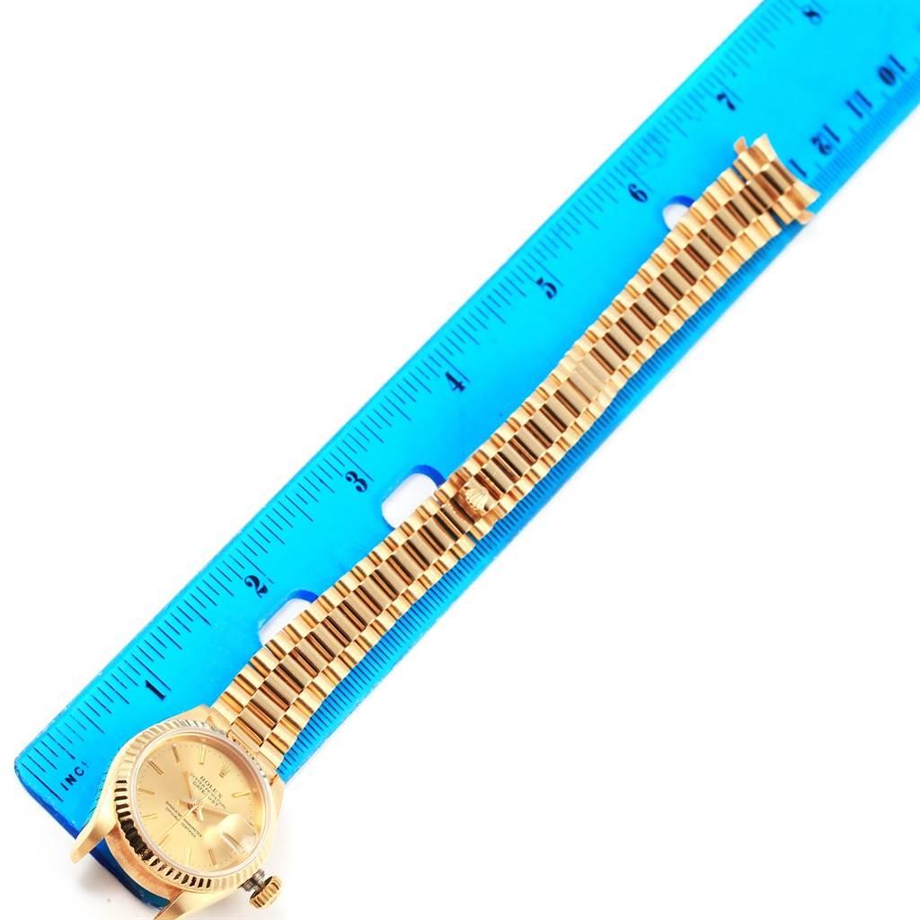 Rolex President Datejust Yellow Gold Fluted Bezel Ladies Watch 69178 SwissWatchExpo