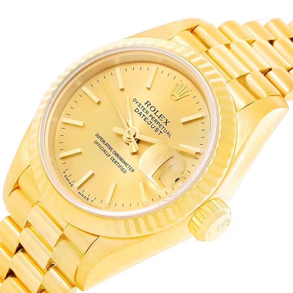 15623 Rolex President Datejust Yellow Gold Fluted Bezel Ladies Watch 69178 SwissWatchExpo