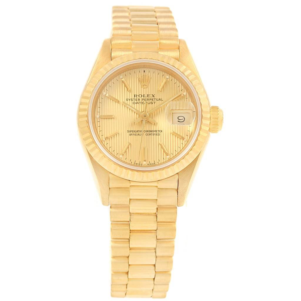 15629 Rolex President Datejust Yellow Gold Tapestry Dial Ladies Watch 69178 SwissWatchExpo
