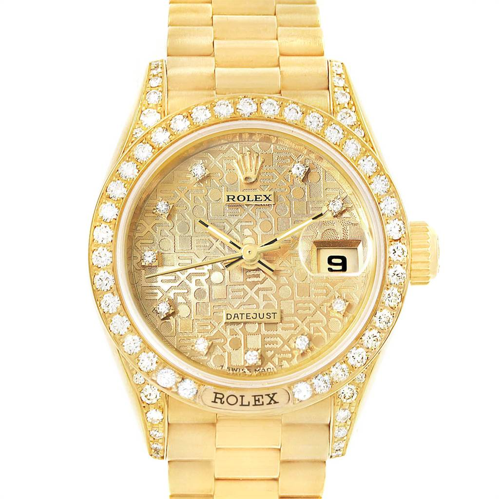16078 Rolex President Crown Collection Yellow Gold Diamond Ladies Watch 69158 SwissWatchExpo