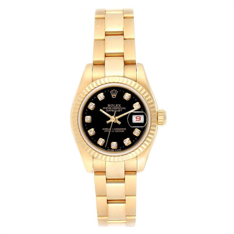 Rolex President Datejust Ladies Yellow Gold Diamond Watch 179178 Box Papers SwissWatchExpo