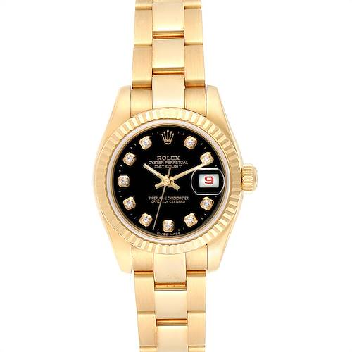 Photo of Rolex President Datejust Ladies Yellow Gold Diamond Watch 179178 Box Papers
