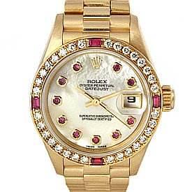 Photo of Rolex President Ladies 18k Yellow Gold Diamonds and Rubies
