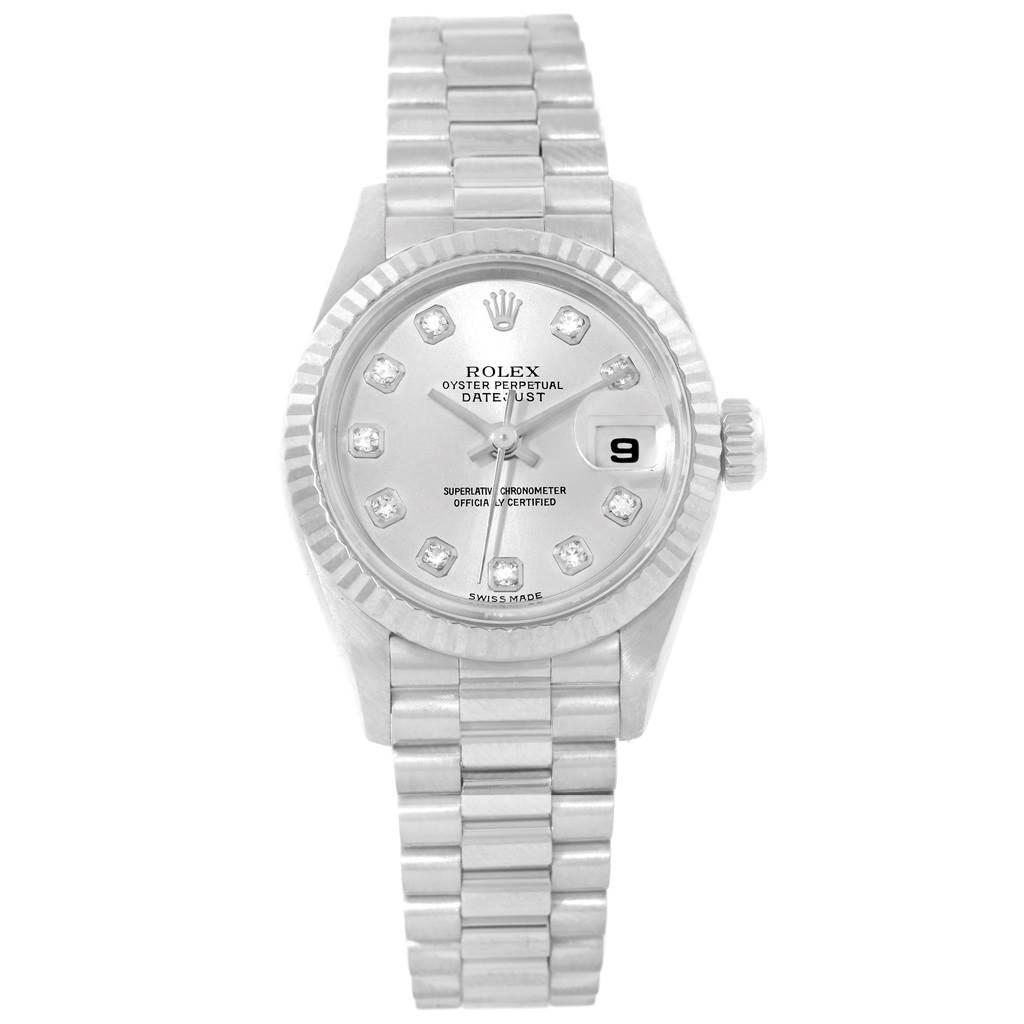 Rolex President Datejust 26 White Gold Diamond Dial Ladies Watch 69179