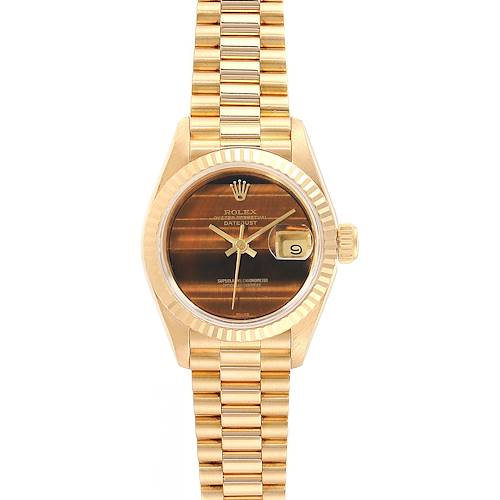 Photo of Rolex President Datejust Yellow Gold Tiger Eye Dial Ladies Watch 69178