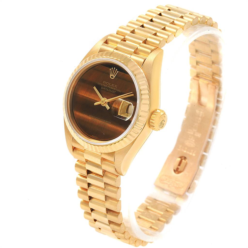 18423 Rolex President Datejust Yellow Gold Tiger Eye Dial Ladies Watch 69178 SwissWatchExpo
