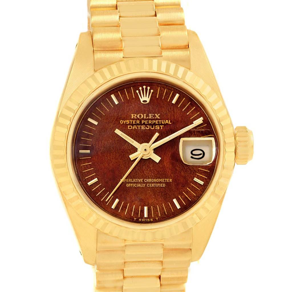 43561c101ff ... 19094 Rolex Datejust President 26 Yellow Gold Wooden Dial Ladies Watch  6917 SwissWatchExpo ...