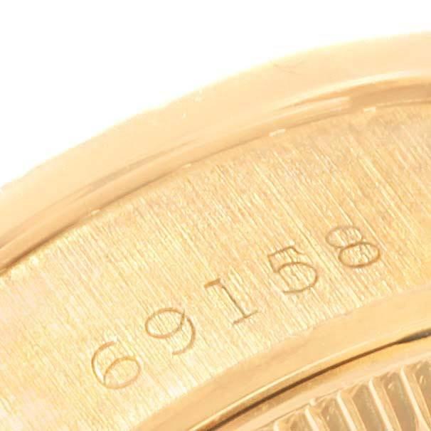 19402 Rolex President Crown Yellow Gold Black Diamond Dial Ladies Watch 69158 SwissWatchExpo