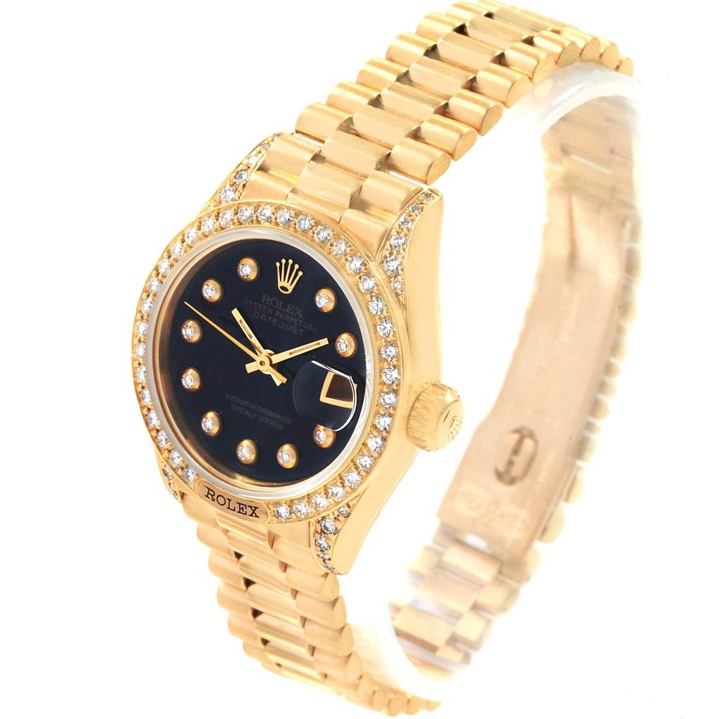 Rolex President Crown Yellow Gold Black Diamond Dial Ladies Watch 69158 SwissWatchExpo