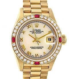 Photo of Rolex President Ladies 18k y Gold Diamonds Rubies 69068