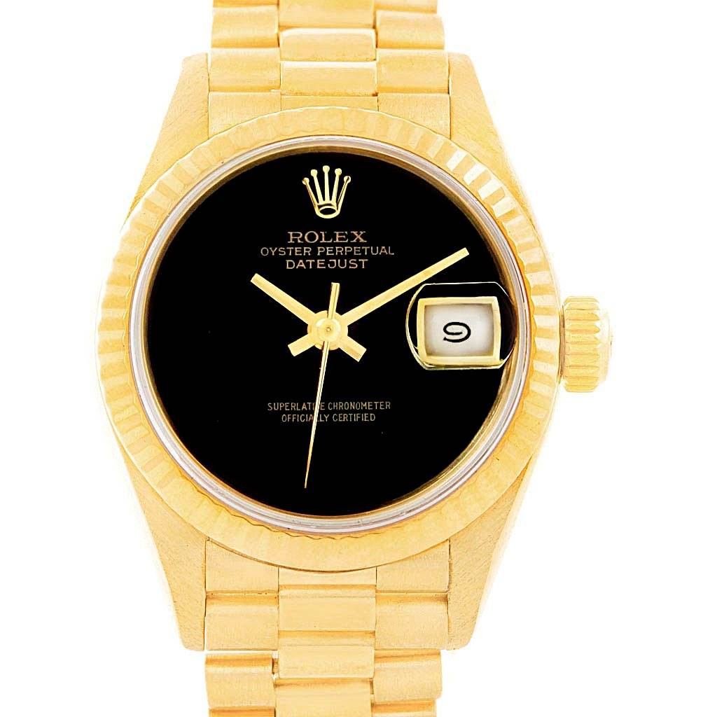 Rolex President Datejust Yellow Gold Onyx Dial Ladies