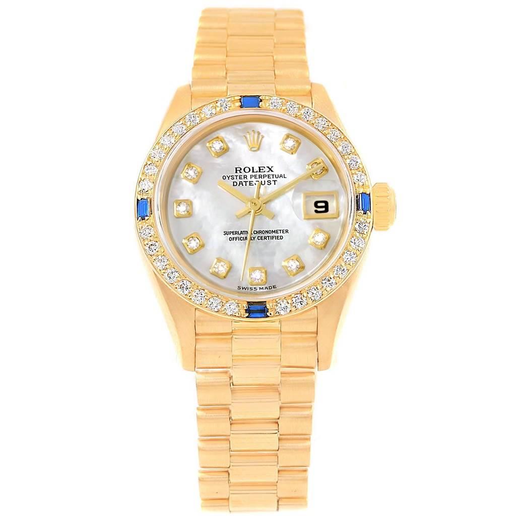 Rolex President Datejust Yellow Gold Diamond Sapphire Ladies Watch 79088