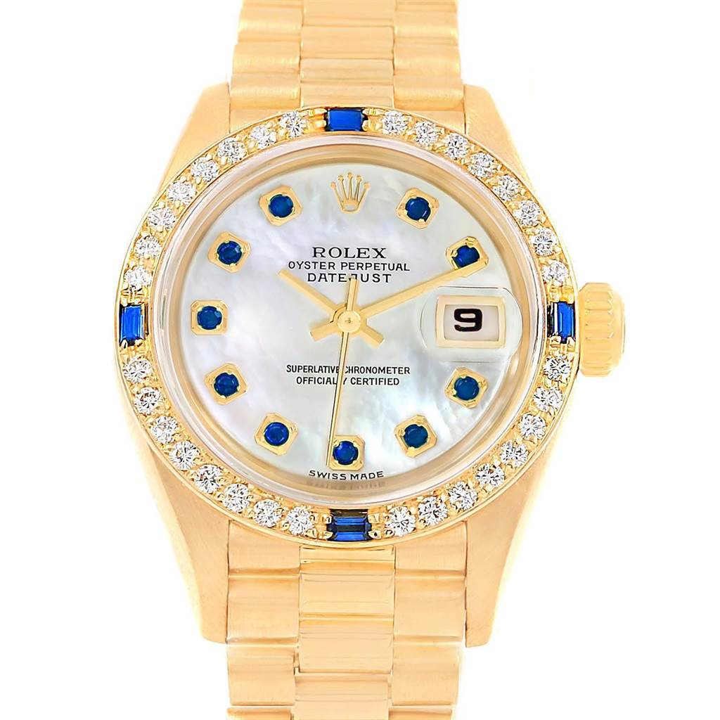 20093A Rolex President Datejust 26 Yellow Gold Diamond Sapphire Ladies Watch 79088 SwissWatchExpo