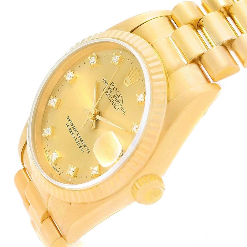 20738x Rolex President Datejust 31 Midsize Gold Diamond Watch 68278 SwissWatchExpo