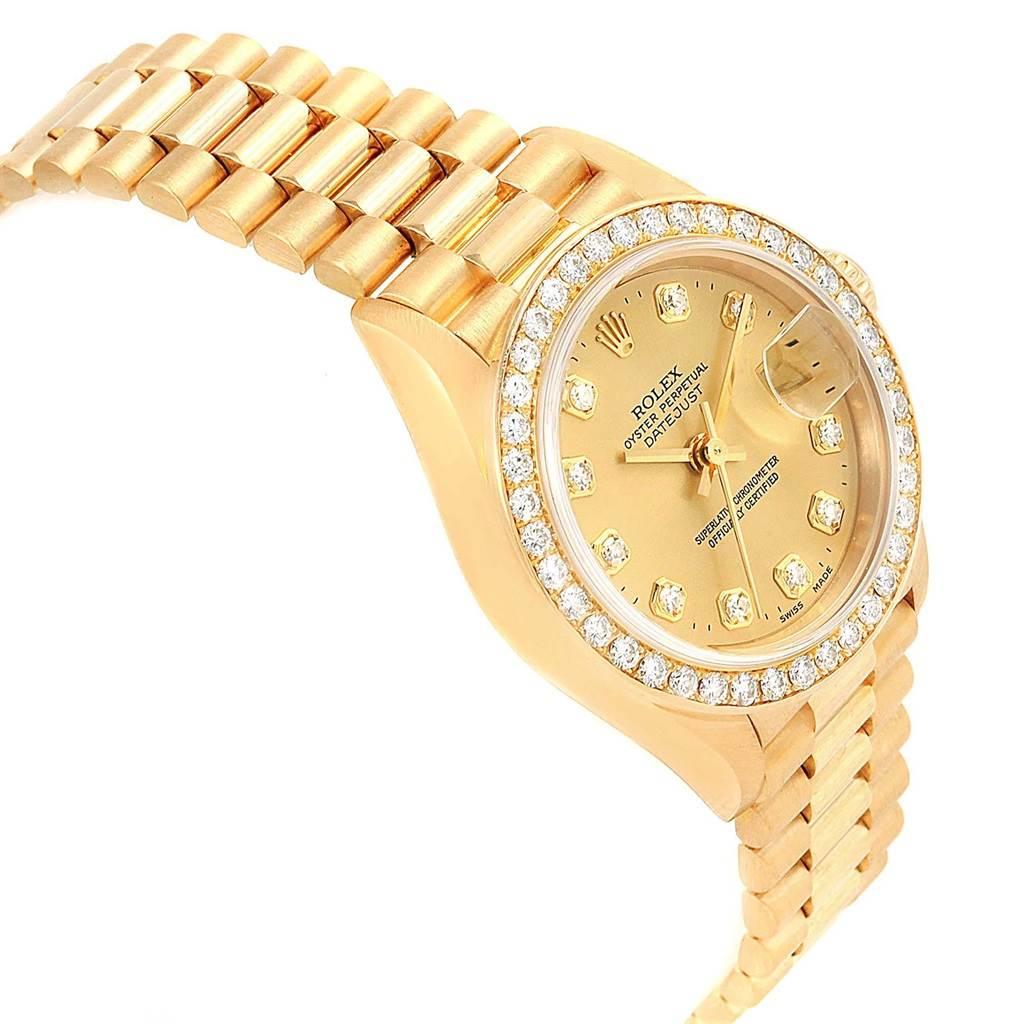 19661x Rolex President Datejust 26 Yellow Gold Diamond Ladies Watch 69138 SwissWatchExpo