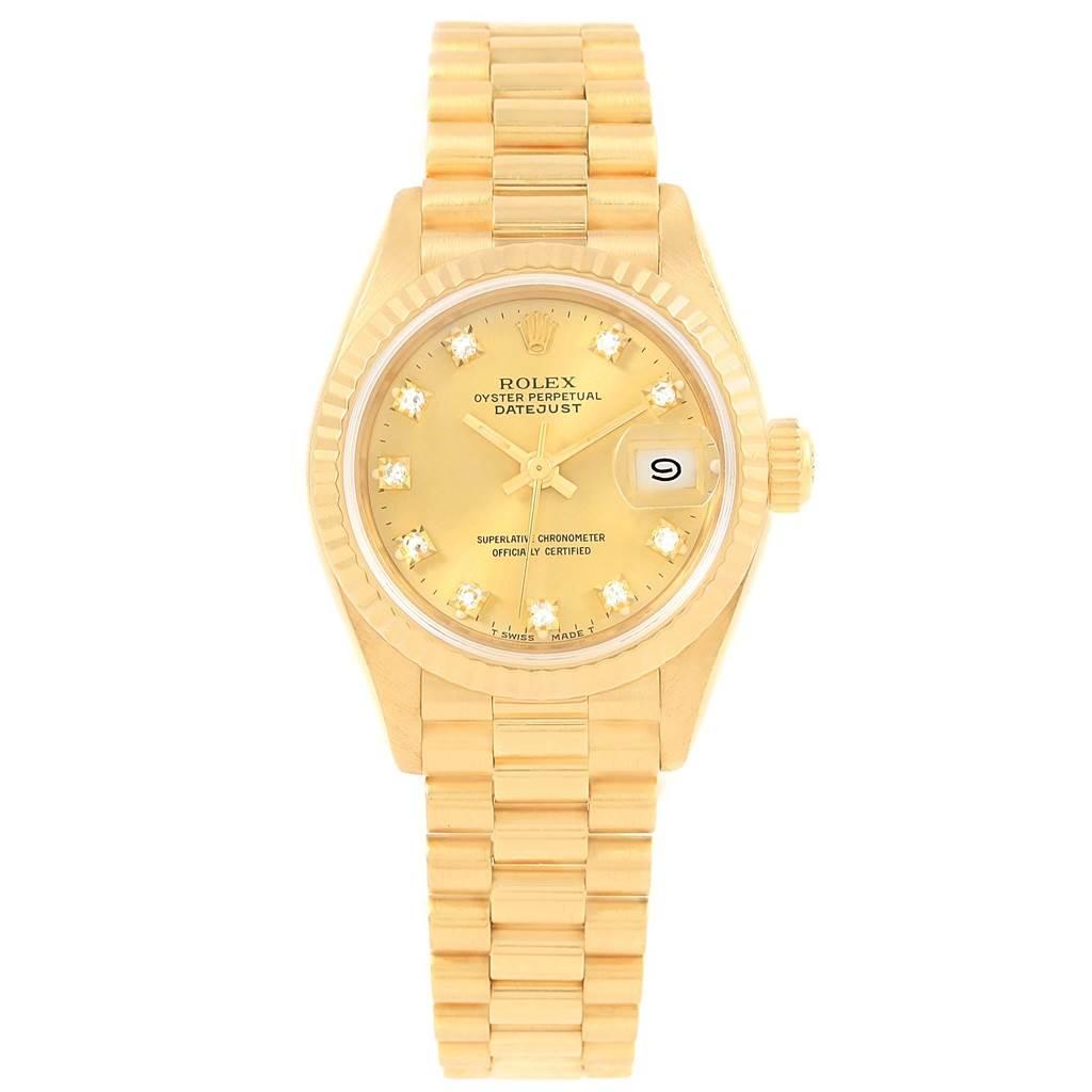 20799 Rolex President Datejust 26 Diamond Dial Yellow Gold Ladies Watch 69178 SwissWatchExpo