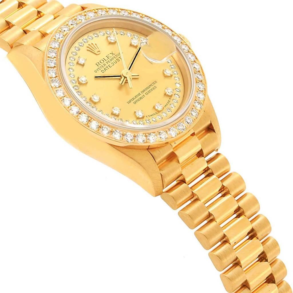 20860 Rolex President Ladies 18k Yellow Gold String Diamond Watch 69138 SwissWatchExpo