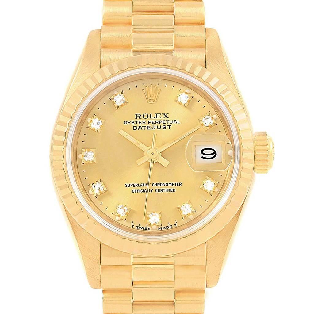 20763 Rolex President Datejust 26 Diamond Dial Yellow Gold Ladies Watch 69178 SwissWatchExpo