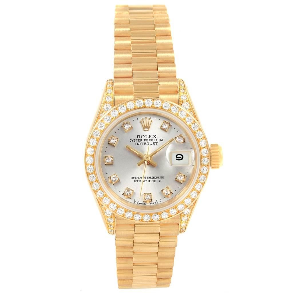 21100 Rolex President Datejust Yellow Gold Diamond Ladies Watch 69238 SwissWatchExpo